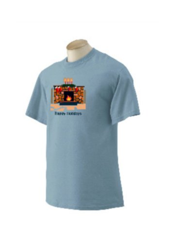 Custom Happy Holidays Fireplace & Stockings on T-shirt, adult large, irish green (Irish Fireplace Screen compare prices)