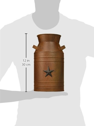 Craft Outlet Milk Can Container with Star Attached, 10.5-Inch, Rust 6