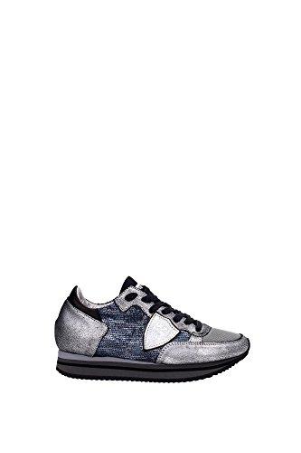 Sneakers Philippe Model Donna Camoscio Argento, Grigio e Nero THLDAS01 Argento 35EU