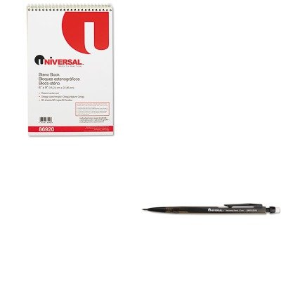 KITUNV22010UNV86920 - Value Kit - Universal Steno Book (UNV86920) and Universal Mechanical Pencil (UNV22010) kitswi3747308unv10200 value kit swingline selfseal clear laminating sheets swi3747308 and universal small binder clips unv10200