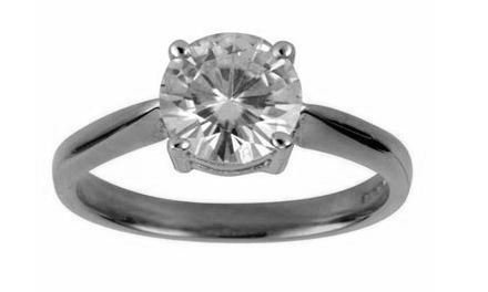 Moissanite 18ct White Gold 2.00 Carat Round Brilliant Cut Ring - Zoe Kay Jewellery