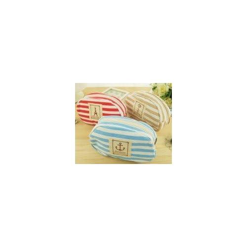 爽やかでかわいい!マリンボーダー柄 ペン ポーチ 化粧 ポーチ 木製 定規 セット レッド ブルー イエロー 3色展開 (レッド)