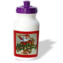 Sandy Mertens Vintage Christmas Designs - Vintage Santa on December 25th - Water Bottles