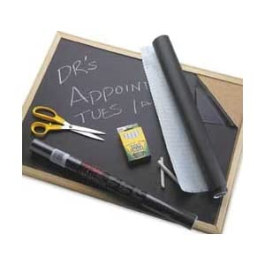 Image: Con-Tact Self Adhesive Chalkboard Contact Paper Black - Self-adhesive coverings are fully repositionable and easy-to-remove with no residue left behind
