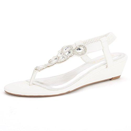 DREAM PAIRS PERSHIAN Women's Summer Low Heel Casual Fashion Design Elastic Back Rhinestone T-Flat Sandals WHITE-SZ-8