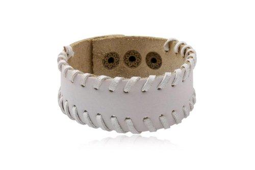 Fashion White Leather Wrap Cuff Rasta Bracelet Bangle Men's Jewelry