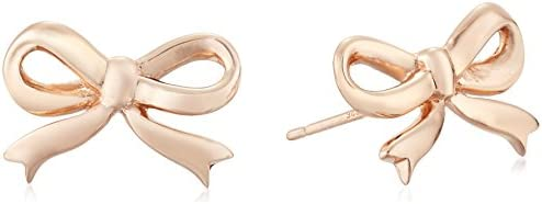 Sterling Silver with Rose Gold Flashed Bow Post Earrings