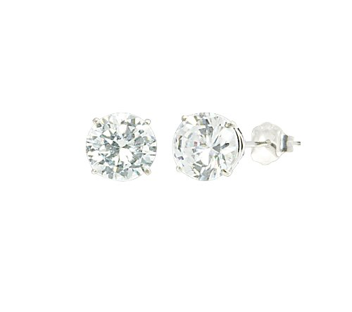 14k White Gold 7mm Round Cubic Zirconia Stud Earrings