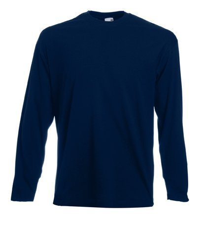 Fruit of the Loom long sleeve plain t-Shirt Deep Navy blue Small