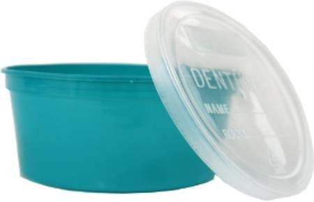 Alimed Cup, Denture Clear Lid, Turquoise (250/Case)