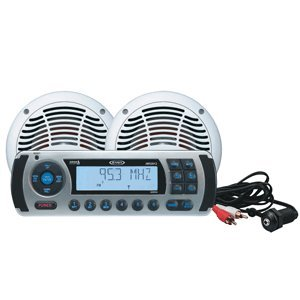JENSEN CPM425 AM/FM/WB/IPOD Sirius Waterproof Stereo Package with 6.5 Dual Cone Speakers, Jport Auxiliary Input Jack