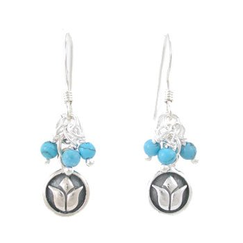 Small Round Raised Lotus Flower Dangle Earrings in Sterling Silver with Turquoise Gemstone Beads, #8181