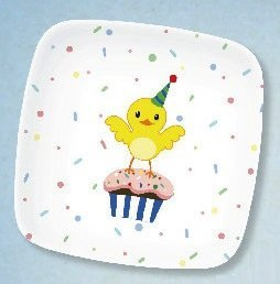 Set of 4 Birthday Party Plates Melamine Dishes
