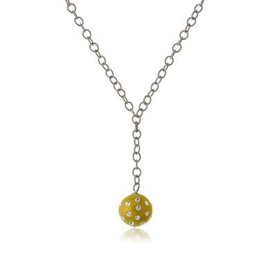 Cute & Trendy Sterling 925 Silver Link Chain Necklace with Hanging Gold Enamel Ball Pendant(WoW !With Purchase Over $50 Receive A Marcrame Bracelet Free)