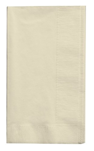 Creative Converting Touch of Color 100 Count 2-Ply Paper Dinner Napkins, Ivory