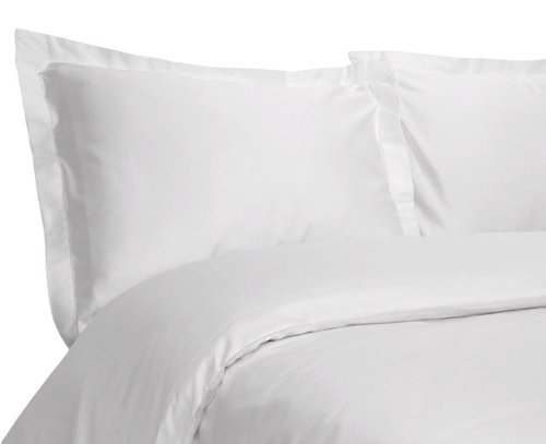 Tuxedo Stripe 450-Thread-Count Luxurious Pure Cotton Sateen 3-Piece King Duvet Cover Set, White