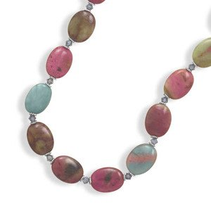 Multicolor Serpentine and Crystal Necklace Adjustable Length Sterling Silver - Made in the USA