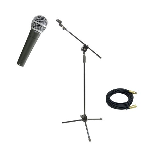 Pyle Mic And Stand Package - Pdmic58 Professional Moving Coil Dynamic Handheld Microphone - Pmks3 Tripod Microphone Stand W/ Extending Boom - Ppmcl30 30Ft. Symmetric Microphone Cable Xlr Female To Xlr Male