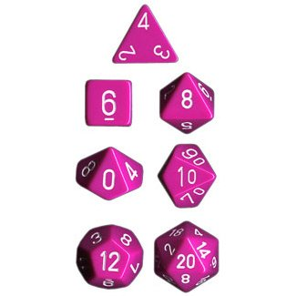 Polyhedral 7-Die Opaque Dice Set - Light Purple with White