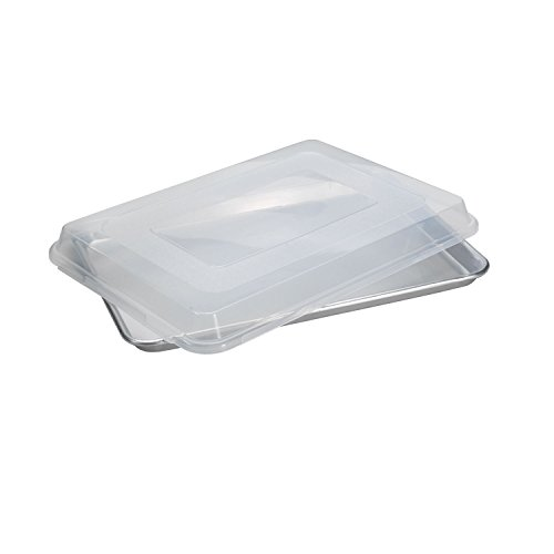 Nordic Ware Natural Aluminum Commercial Baker's Half Sheet with Lid (Edges Only Brownie Pan compare prices)