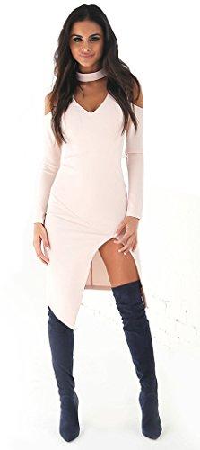 ALAIX Sexy Fashion Womens Deep V-neck Club Dresses Irregular Hem Long sleeve White-M