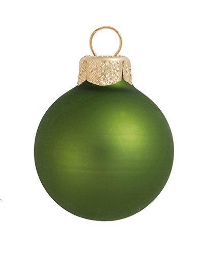 40ct Matte Lime Green Glass Ball Christmas Ornaments 1.25