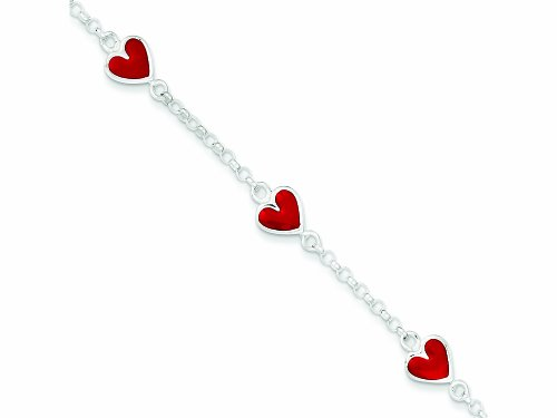 Sterling Silver Enamal Red Heart Child'S Bracelet