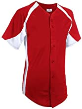 Teamwork Adult Unisex Clutch Full Button Baseball Jerseys XX-Large ScarletWhite