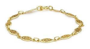 "Carissima 9ct Yellow Gold Filigree Oval Bracelet 18cm/7"""