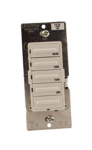 5-10-15-30 Minute Countdown Timer Switch, Preset, Decora 1800W Incandescent/20A Resistive-Inductive 1HP, White/Ivory/Light Almond, LTB30-1LZ