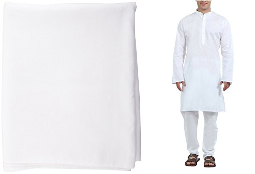 Royal Mens Pure White Linen Kurta Pyjama All Over Fabric _Unstiched_5MTR