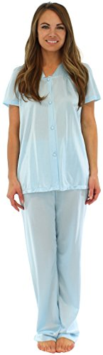 PajamaMania Women's Short Sleeve Pajama Set (Nylon, Blue, Lrg)