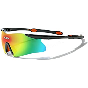 X-Loop Lunettes de Soleil - Sport - Cyclisme - Ski / Mod. 3555 Noir Orange / Taille Unique Adulte / Protection 100% UV400