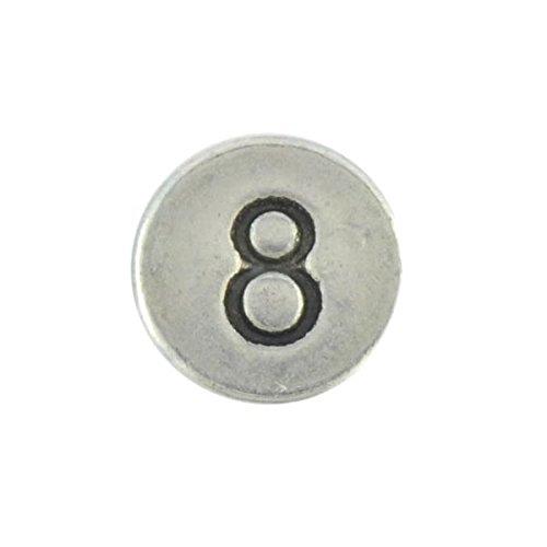 Mit der Zahl 8 Beads Charm Buchstabe Metall rund 1 Stück aus Metall