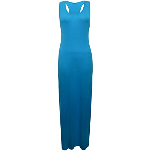 Fashion Wardrobe Womens Racer Back Vest Maxi Ladies Plain Sexy Casual Top Full Length Dress 8-14