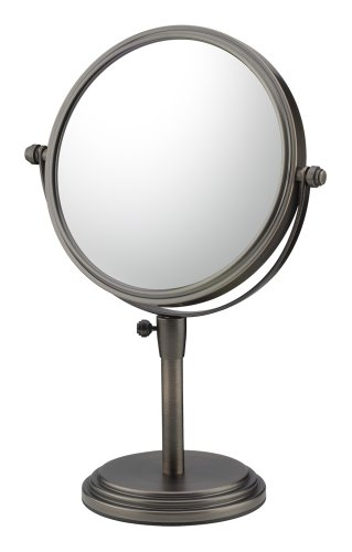 Mirror Image 81715 Classic Adjustable Vanity Mirror, 7.75-Inch Diameter, 1X And 5X Magnification, Italian Bronze front-739064