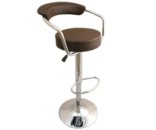 NEW BROWN BREAKFAST BAR STOOL FAUX LEATHER BARSTOOL KITCHEN STOOLS CHROME CHAIR