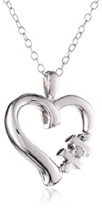 "Women's Sterling Silver Diamond ""You Complete Me"" Heart Pendant Necklace, 18"""