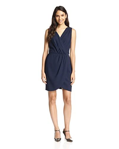 Adelyn Rae Women's Faux Wrap Dress with Sheer Back