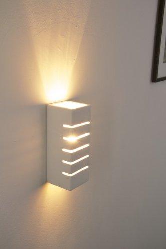 Applique lampada da parete design rettangolare gesso bianco pitturabile - Applique in gesso da parete ...