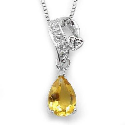100% Genuine Citrine 925 Silver White Gold Plating Necklace Gem Jewellery