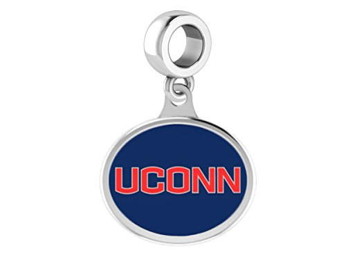 Connecticut Huskies UCONN Drop Charm Fits All European Style Beaded Charm Bracelets