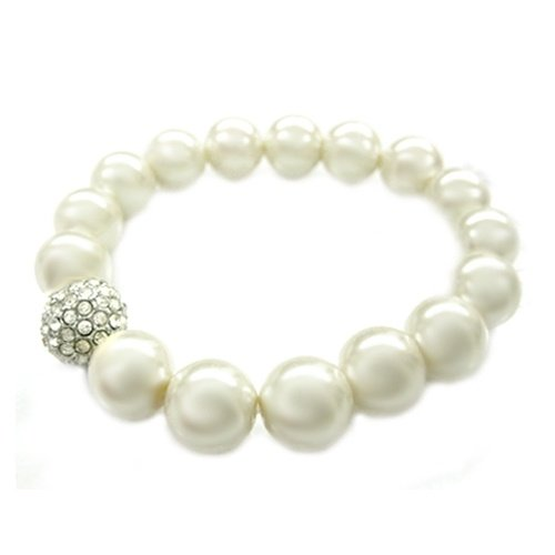 Simulated Pearl Crystal Pave Stretch Bracelet