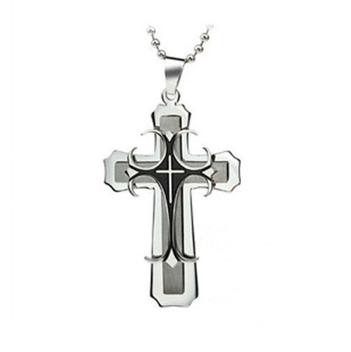 Chaomingzhen Stainless Steel Men's Large Cross Pendant with 19.5 Inch Curb Chain Necklace Gothic and Punk Style Fashion Jewerly for Men or for Boyfriend 19.5