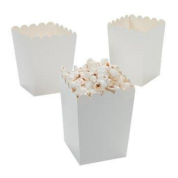 Mini Popcorn Boxes - White - Teacher Resources & Birthday Supplies (Pack of 24)