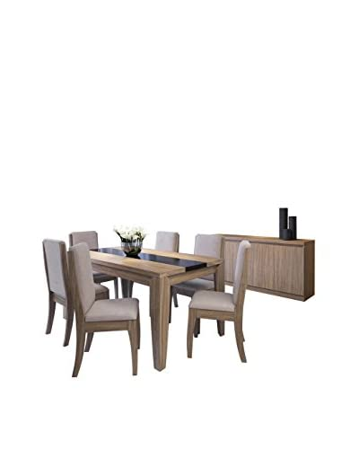 Manhattan Comfort Trimble and Florence Dining Set For 6 with Sideboard, Brown