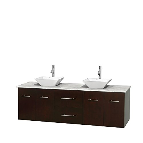 Centra 72 Inch Double Bathroom Vanity In Espresso, White Carrera Marble Countertop, Pyra White Porcelain Sinks, And No Mirror