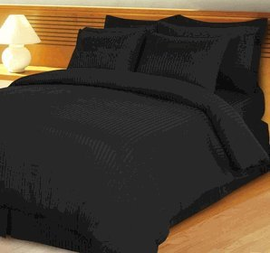 STRIPE BLACK 600 THREAD COUNT CALIFORNIA KING SIZE 8PC BED IN A