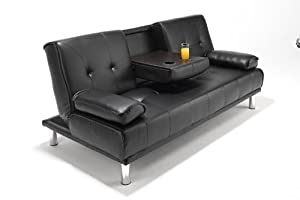 Cinema Style Futon Sofabed With Drinks Table Faux Leather Sofa Bed by SOUTHERN SOFA BEDS