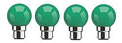 Syska B22 0.5-Watt LED Glass Bulb (Pack of 4, Green)